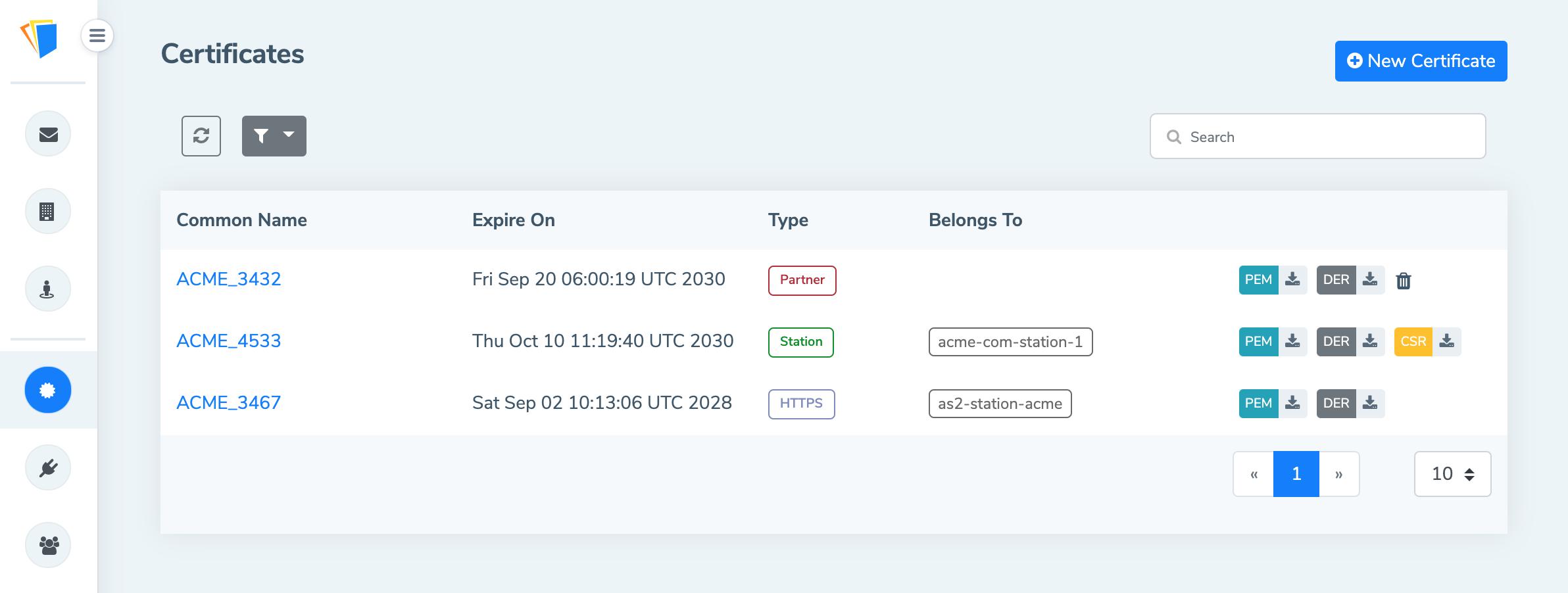 certificate mft webhook integration release certificates manage